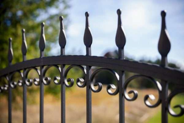 detail of the wrought iron fence, closee up